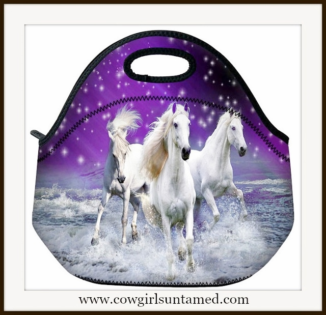 WESTERN COWGIRL HOME Galloping White Horses Lunch Bag Cooler Tote