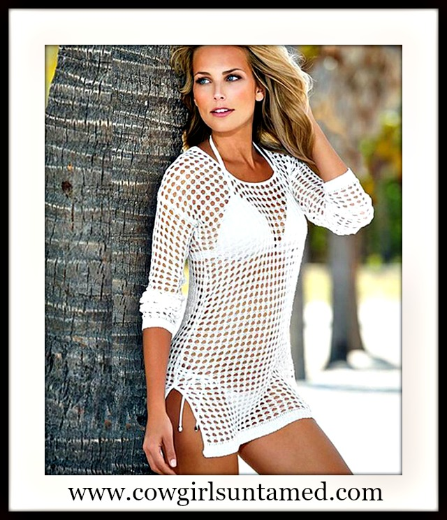 SEXY COWGIRL COVERUP White Fishnet Style 3/4 Sleeve Tunic Top Coverup