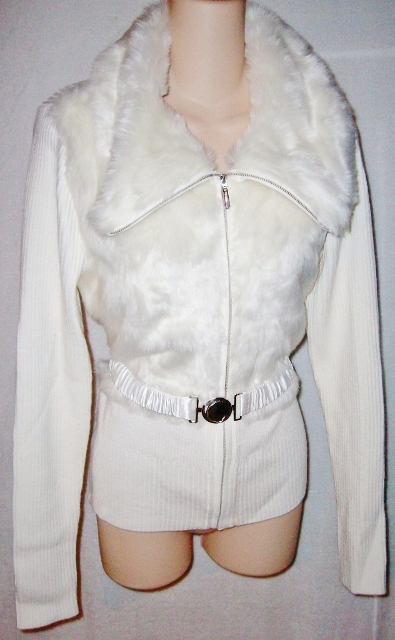 COWGIRL GYPSY SWEATER Winter White Faux Fur Long Sleeve Belted Zip Front Western Sweater Cardigan
