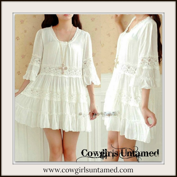 BOHEMIAN COWGIRL DRESS White Lace 3/4 Sleeve Cotton Ruffle Trim Boho Tunic Top/Mini Dress