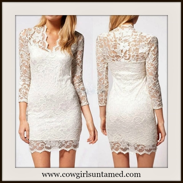 WILDFLOWER DRESS White 3/4 Sleeve V Neck Bodycon Stretchy Lace Dress