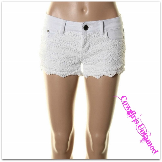 COWGIRL GYPSY SHORTS White Crochet Lace Cut off Denim Shorts