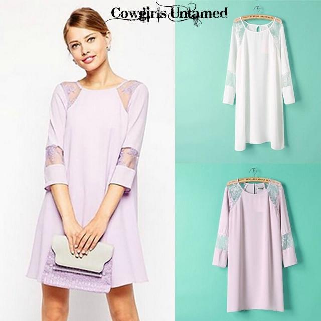 COWGIRL GLAM DRESS White Lace Cutiuts on Semi Sheer 3/4 Sleeve Tunic Top Mini Dress