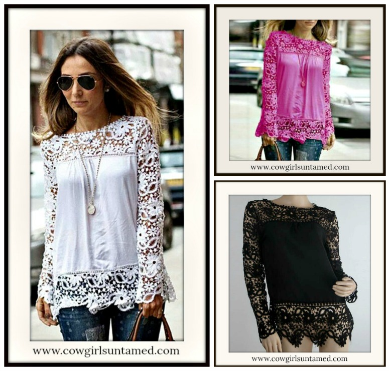 COWGIRL GYPSY TOP Lace Long Sleeve & Hem Chiffon Loose Fit Western Top