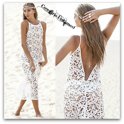COWGIRL GYPSY COVER UP White Lace Deep  V Back Long Maxi Dress Bikini Cover Up
