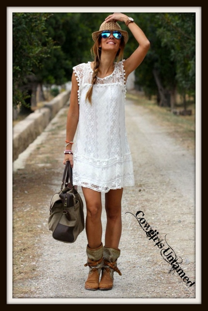 WILDFLOWER DRESS White Crochet Lace Sleeveless Mini Dress / Tunic Top