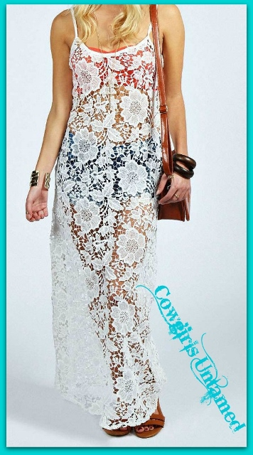 COWGIRL GYPSY COVERUP White Lace Long Maxi Dress Boho Coverup