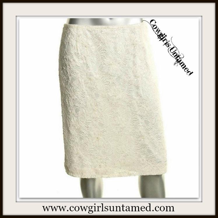 TAHARI SKIRT Ivory Lace Sequin Covered Designer Pencil Skirt