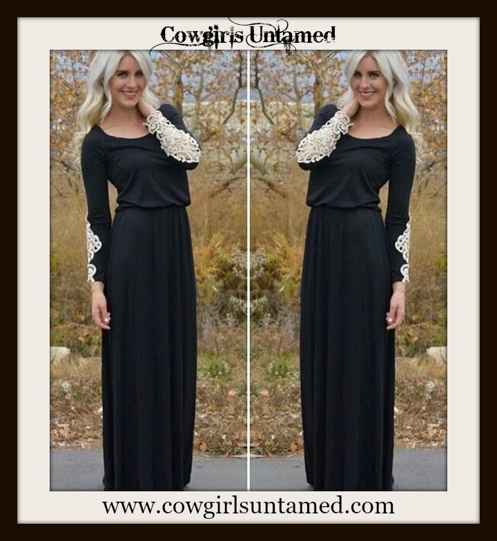 COWGIRL GYPSY DRESS Cream Lace Sleeve on Black Jersey Maxi Dress