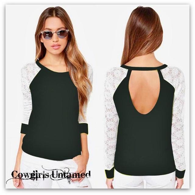 COWGIRL GYPSY SWEATER White Lace Long Sleeve on Black Jersey Boho Sweatshirt