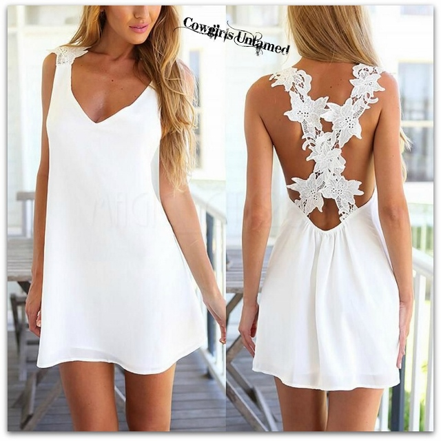 COWGIRL GYPSY DRESS White FLoral Crochet Lace Criss Cross Back Chiffon Mini Dress