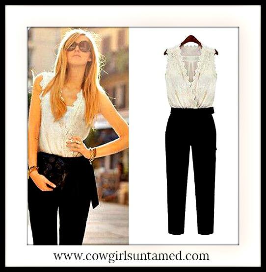 COWGIRL GLAM JUMPSUIT White Lace V Neck Sleeveless Elastic Waist Black Jumpsuit