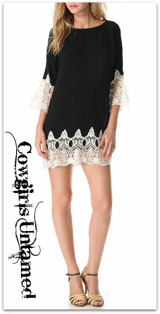 COWGIRL GYPSY DRESS White Lace on Black 3/4 Sleeve Loose Fit Mini Dress