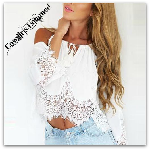 WILD FLOWER TOP White Lace Trim Off The Shoulder Cropped Chiffon Boho Top
