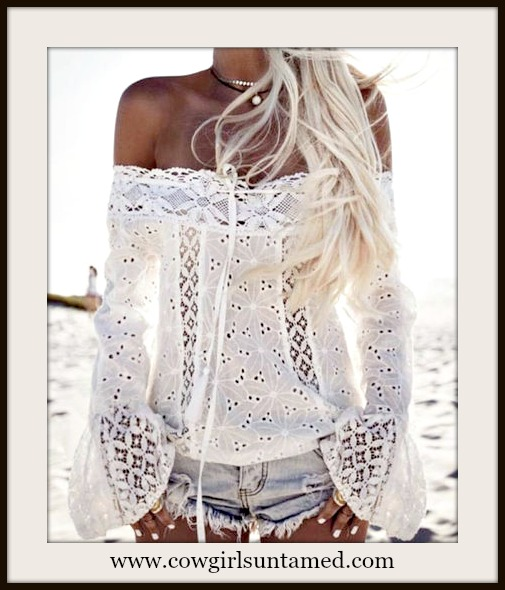 COWGIRL GYPSY TOP White Eyelet Lace Off the Shoulder Long Bell Sleeve Top