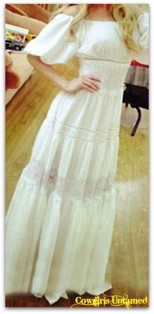 WILD FLOWER DRESS White Lace and Chiffon Off The Shoulder Tiered Boho Maxi Dress