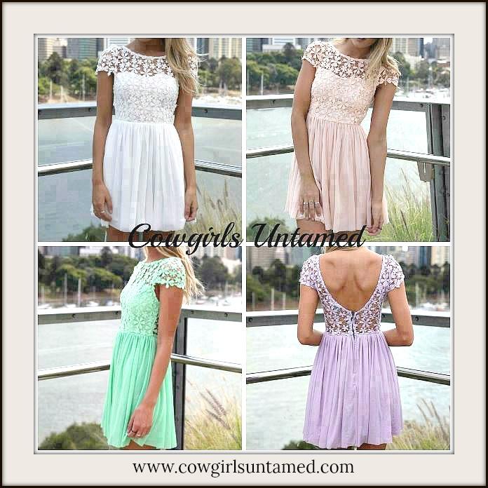 COWGIRL GLAM DRESS Lace Open Back Chiffon Skirt Mini Dress