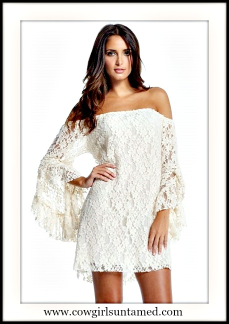 COWGIRL GYPSY DRESS White Stretchy Lace Off the Shoulder Long Sleeve Western Mini Dress Tunic Top