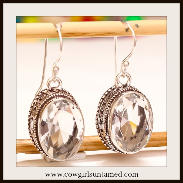 BOHEMIAN COWGIRL EARRINGS White Topaz Gemstone Antique STerling Silver Boho Dangle Earrings