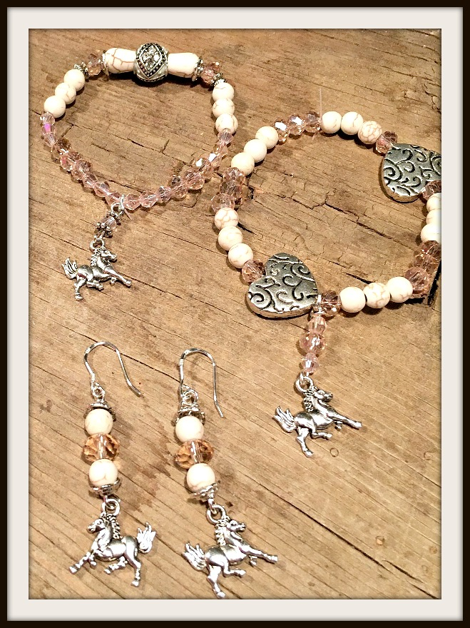 FOR THE LOVE of HORSES Pink Crystal White Turquoise Silver Horse Charm Bracelets / Earrings  You Choose