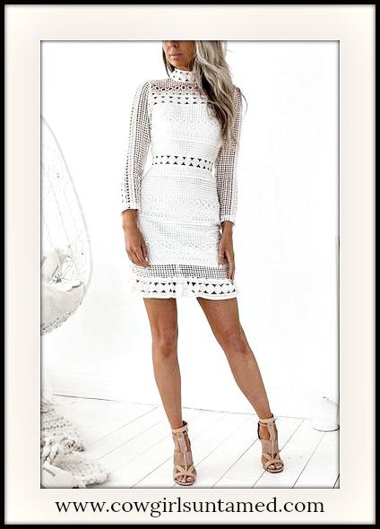 VINTAGE BOHEMIAN DRESS High Neck 3/4 Sleeve White Geometric Lace Vintage Mini Dress