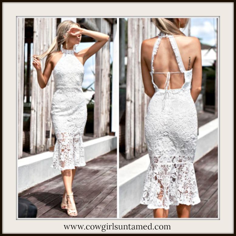 VINTAGE BOHEMIAN DRESS High Neck Sleeveless White Lace Open Back Romantic Midi Dress
