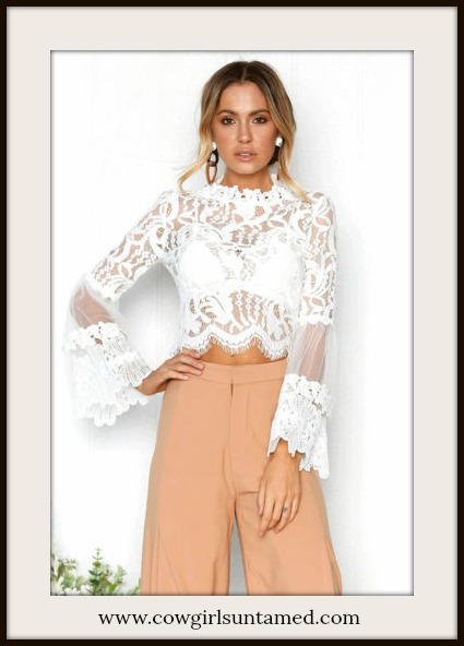 COWGIRL GYPSY TOP Sheer White Lace Long Sleeve Cropped Top