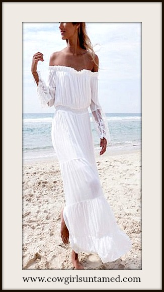 BOHEMIAN COWGIRL DRESS Off the Shoulder Lace Sleeve White Chiffon Maxi Dress