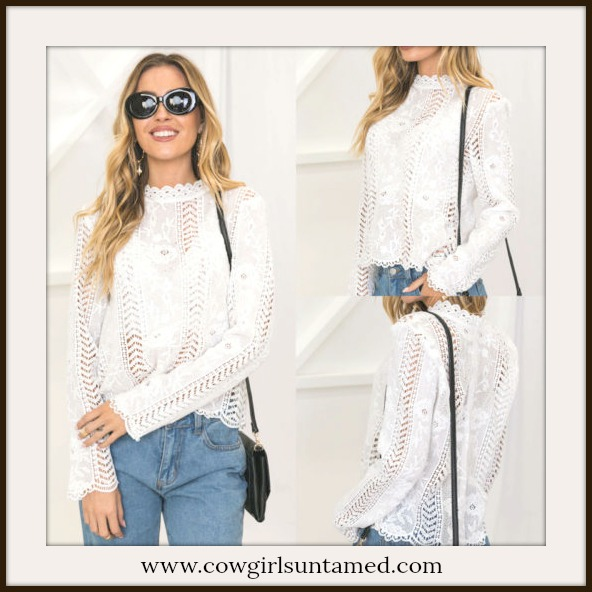 COWGIRL GYPSY TOP White Lace High Neck Long Sleeve Blouse