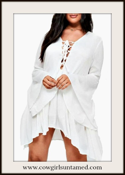 BOHO CHIC DRESS White Lace Up Neckline Bell Sleeve Ruffle Trim Mini Dress PLUS SIZE