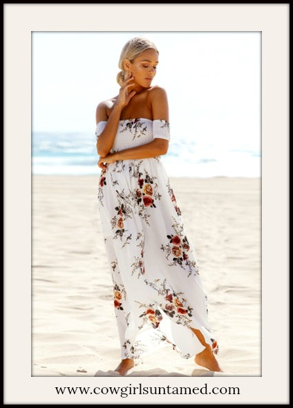 VINTAGE COWGIRL DRESS Floral White Off the Shoulder Maxi Dress