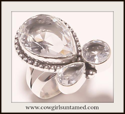 COWGIRL GYPSY RING Triple White Topaz Gemstone 925 Sterling Silver Boho Ring