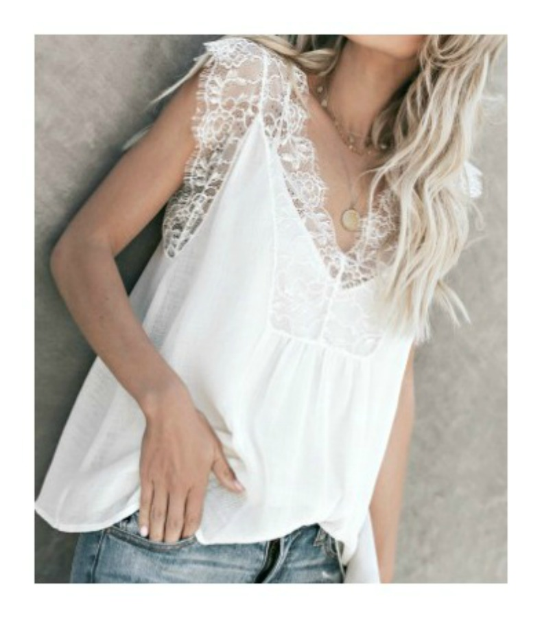VINTAGE BOHEMIAN TOP White Lace Trim on White Chiffon Sleeveless Boho Blouse Set