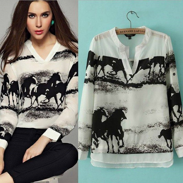 COWGIRL GYPSY TOP White Chiffon with Running Black Horse Silhouette V Neck Western Blouse Top