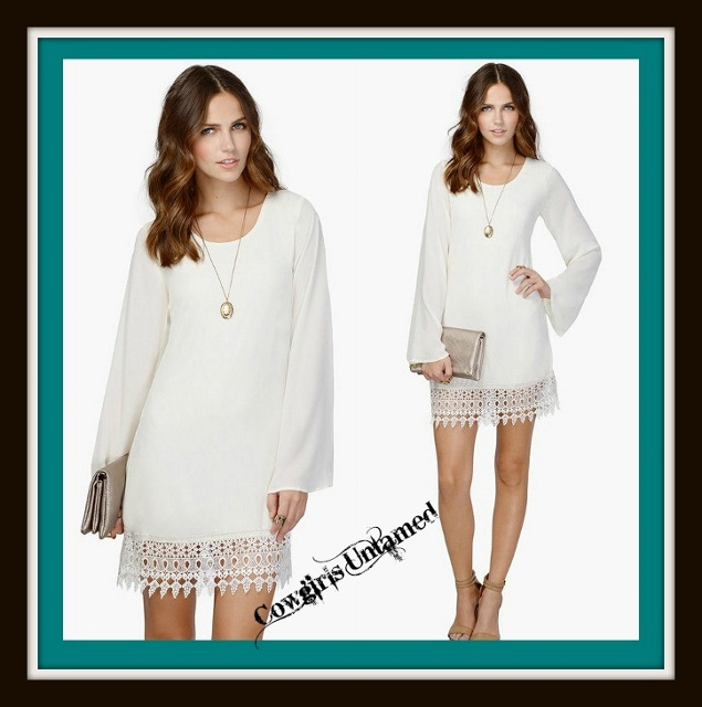 COWGIRL GYPSY DRESS Long Sleeve White Chiffon Loose Fit Western Mini Dress With Lace Hem