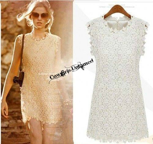 COWGIRL GLAM DRESS White Floral Lace Lined Sheath Mini Dress
