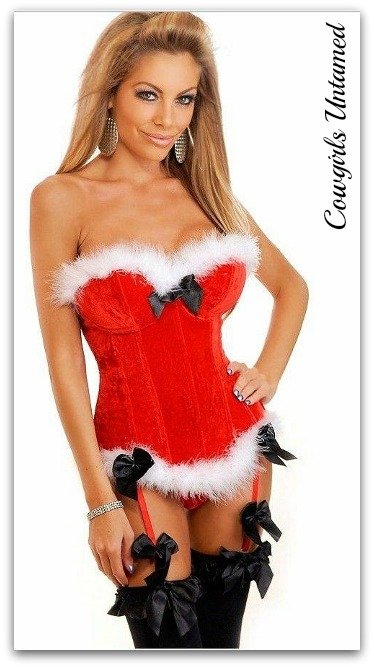 COWGIRL CHRISTMAS CORSET White Fur Trim on Red Velvet and Black Bow Western Corset Top