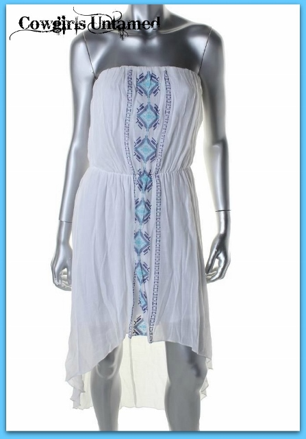 COWGIRL STYLE DRESS White Hi Low Hemline Emroidered Strapless Dress