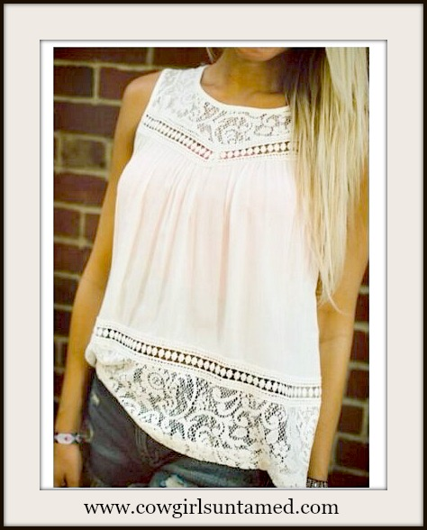 COWGIRL GYPSY TOP Off White Slit Back Lace & Crochet Sleeveless Blouse Tank Top