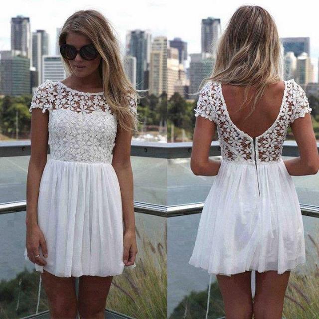 COWGIRL GYPSY DRESS White Lace Open Back Chiffon Skirt Western Mini Dress