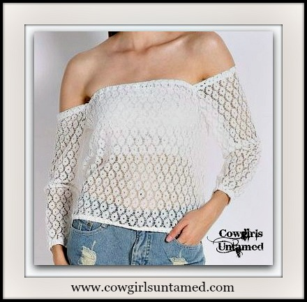 COWGIRL GYPSY TOP White Crochet Lace Off the Shoulder Long Sleeve SHEER Top