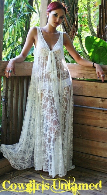 COWGIRL GYPSY COVER UP Long White Lace Sleeveless Sheer Maxi Dress Cover Up