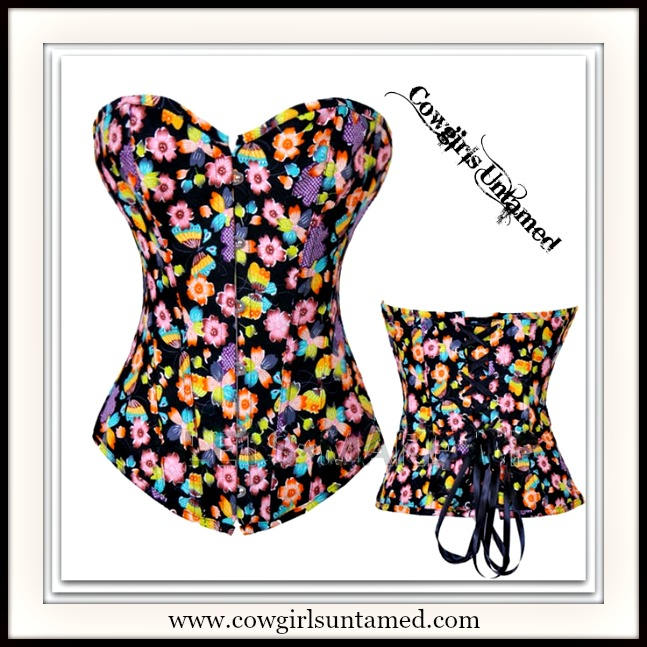 CORSET - Multi Color Wild Flowers N Butterflies on Black Denim Corset Top