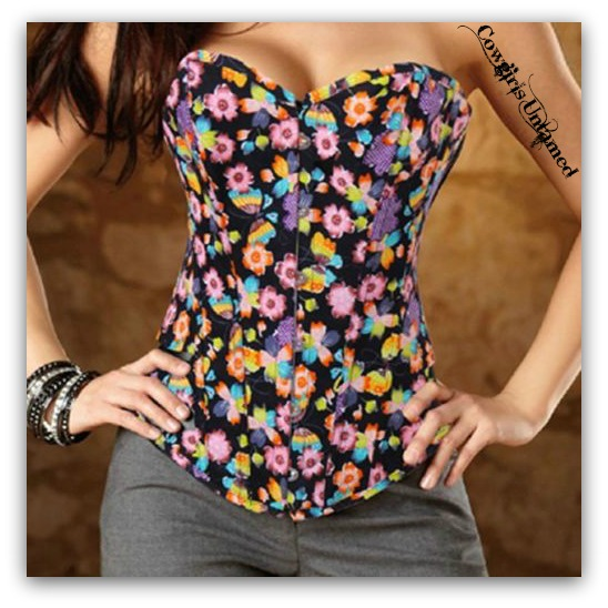 CORSET - Multi Color Wild Flowers N Butterflies on Black Denim Boho Corset Top