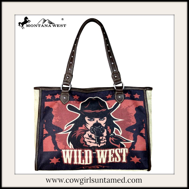 """COWGIRL OUTLAW HANDBAG """"Wild West"""" Gun Totin' Cowgirl Red and Black Painted Canvas Western Tote"""