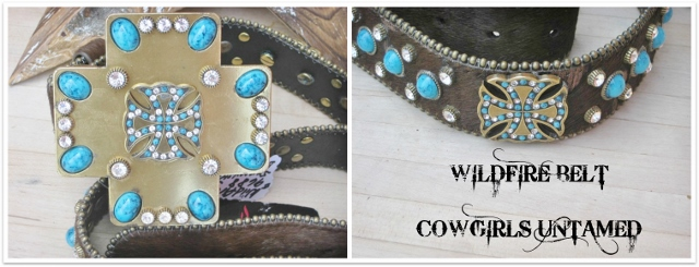 COWGIRL STYLE BELT Brown Cowhide Rhinestone Swarovski Crystals Cross Bling Designer WILDFIRE Western Belt