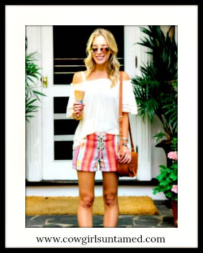 DESIGNER BOHO SHORTS Embroidered Lace Up Boho Chic Shorts