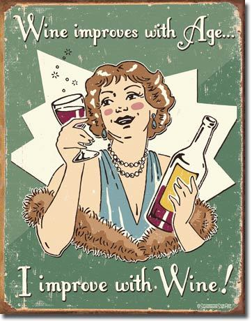 "COWGIRL STYLE DECOR Green Retro ""Wine Improves With Age I Improved with Wine"" Tin Sign"