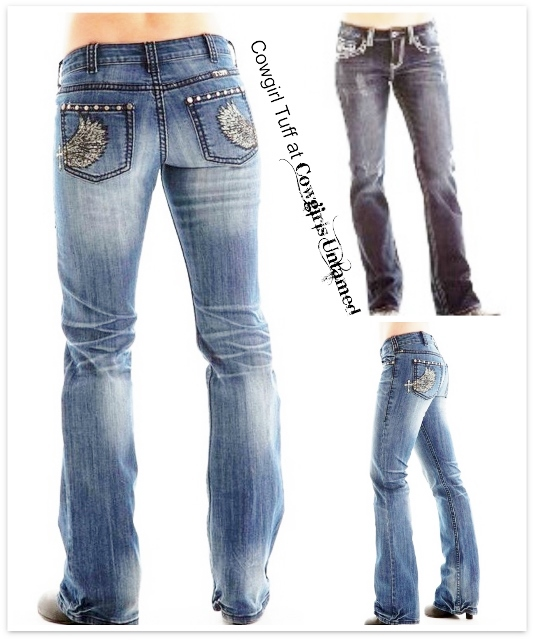 COWGIRL TUFF JEANS Wing and a Prayer Medium Wash Denim Jeans