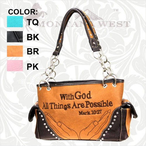 "MONTANA WEST PURSE ""With God All Things Are Possible"" Rhinestone Studded Leather Western Purse Handbag"